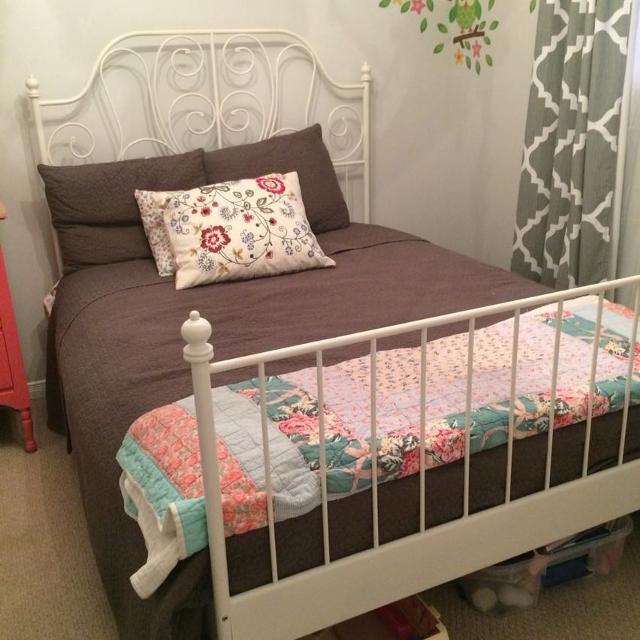 find more white ikea leirvik double bed frame 150 obo. Black Bedroom Furniture Sets. Home Design Ideas