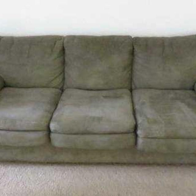 Olive green microfiber couch