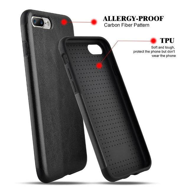 quality design 48c4f 0d0cf iPhone 7 Plus Case Carbon Fiber,Roybens Hybrid Rubberized Ultra-Slim  Anti-Slip Case TPU Leather Shockproof Cover for iPhone 7 Plus (2016) -