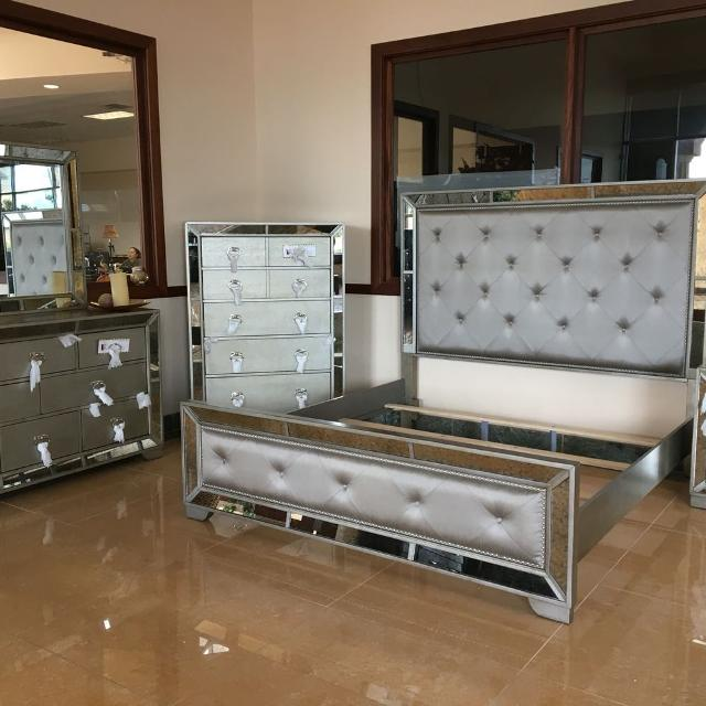 Silver flake mirror bedroom suite