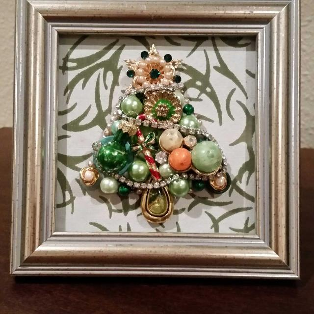 Best Vintage Jewelry Framed Art Petite Christmas Tree For Sale In
