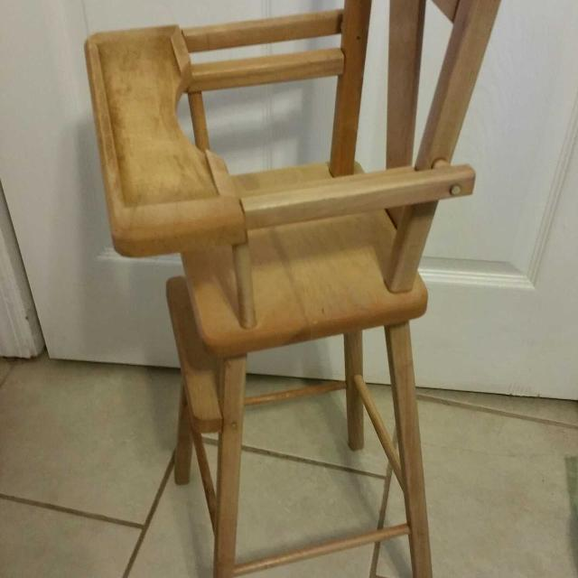 Vintage 1940-50's oak wooden doll high chair with lifting tray table COMES  WITH BONUS - Find More Vintage 1940-50's Oak Wooden Doll High Chair With Lifting