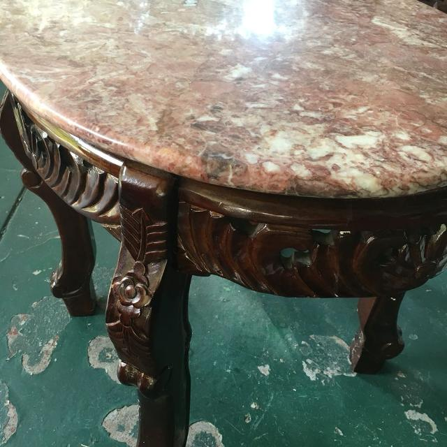 Antique Marble Top And Wood End Tables