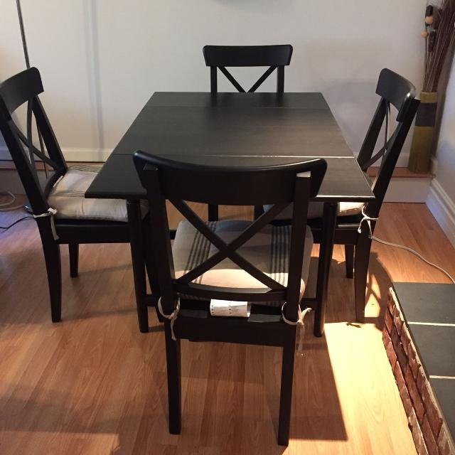 Find More Ikea Ingatorp Drop Leaf Table Ingolf Chairs With Cushions