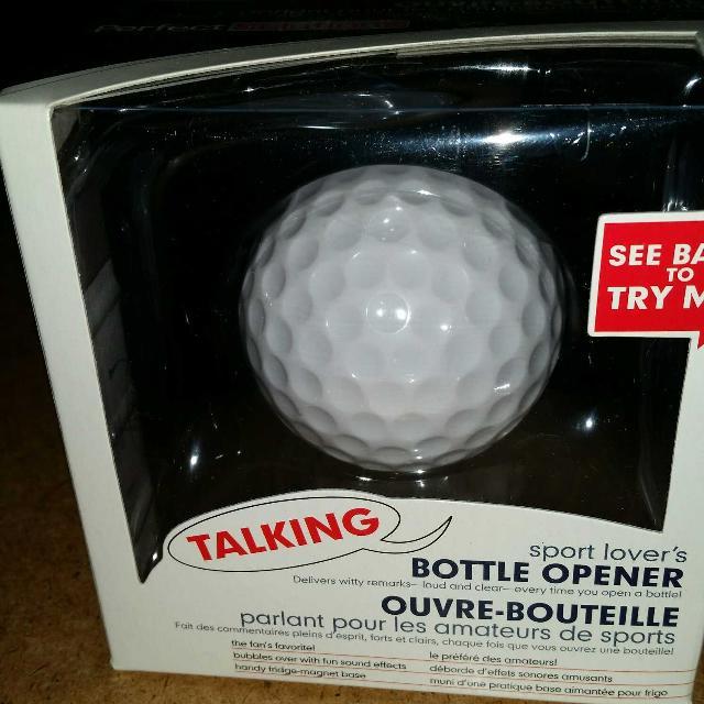 BRAND NEW:Talking golf ball bottle opener