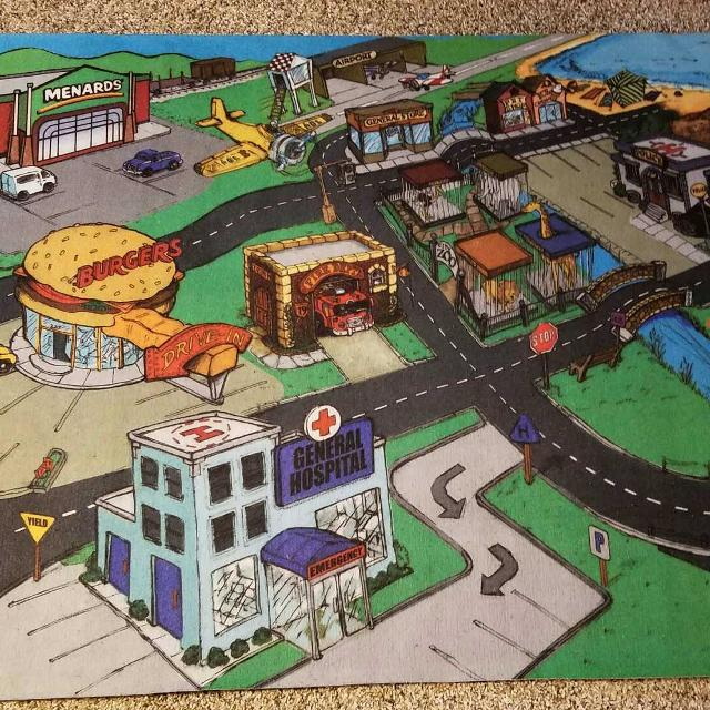 Menards kids play mat for hours of fun with trucks and cars!