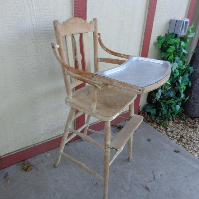 Antique Wood High Chair w/ removeable metal tray - Find More Antique Wood High Chair W/ Removeable Metal Tray For Sale