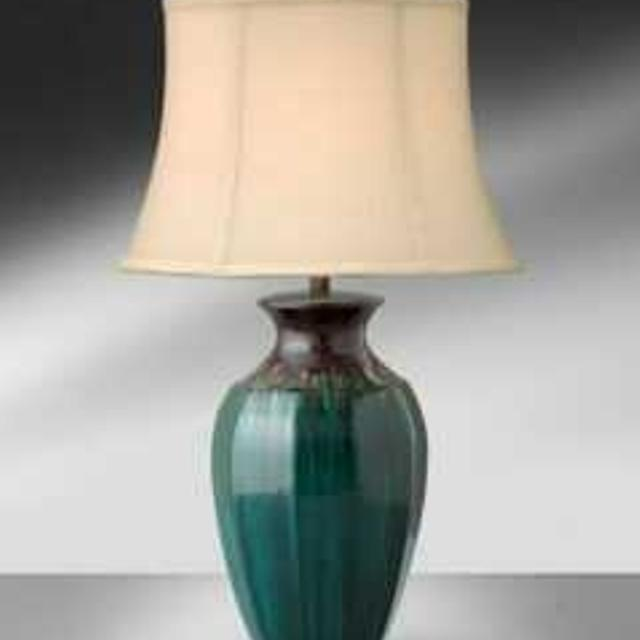 Best Medallion Teal With Brown Drip Ceramic Table Lamp For Sale In