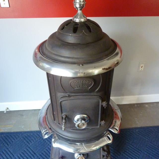 find more antique comfort stove cast iron pot belly woodstove for sale at up to 90 off. Black Bedroom Furniture Sets. Home Design Ideas