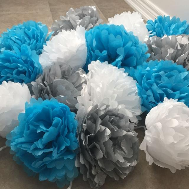 Find more 15 tissue paper flowers silver blue white for sale at 15 tissue paper flowers silver blue white mightylinksfo