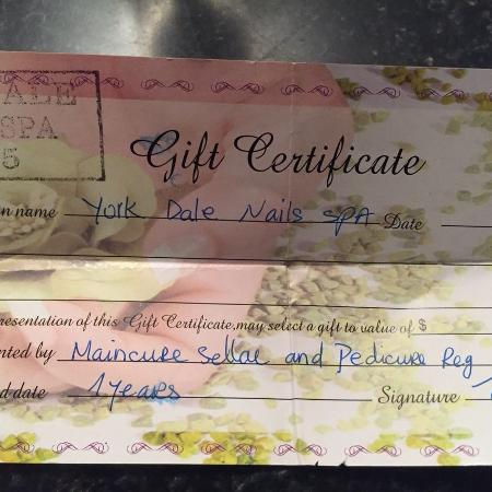 Yorkdale nail and spa certificate for sale  Canada