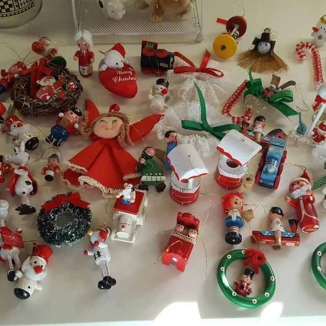 mixed lot of vintage christmas ornaments most are wooden made in taiwan - Vintage Christmas Decorations For Sale