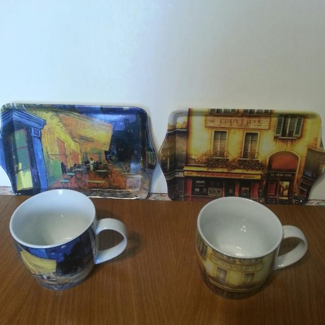 Matching Coffee Mugs Trays Bella Cucina Rouet