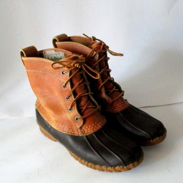 a8b567a65df Men's L.L.Bean duck waterproof Brown leather ankle boots ~ Rubber Forest  Hunting Insulated Duck Bots Size 8