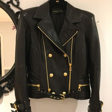 BALMAIN for H&M leather moto jacket, used for sale  Canada