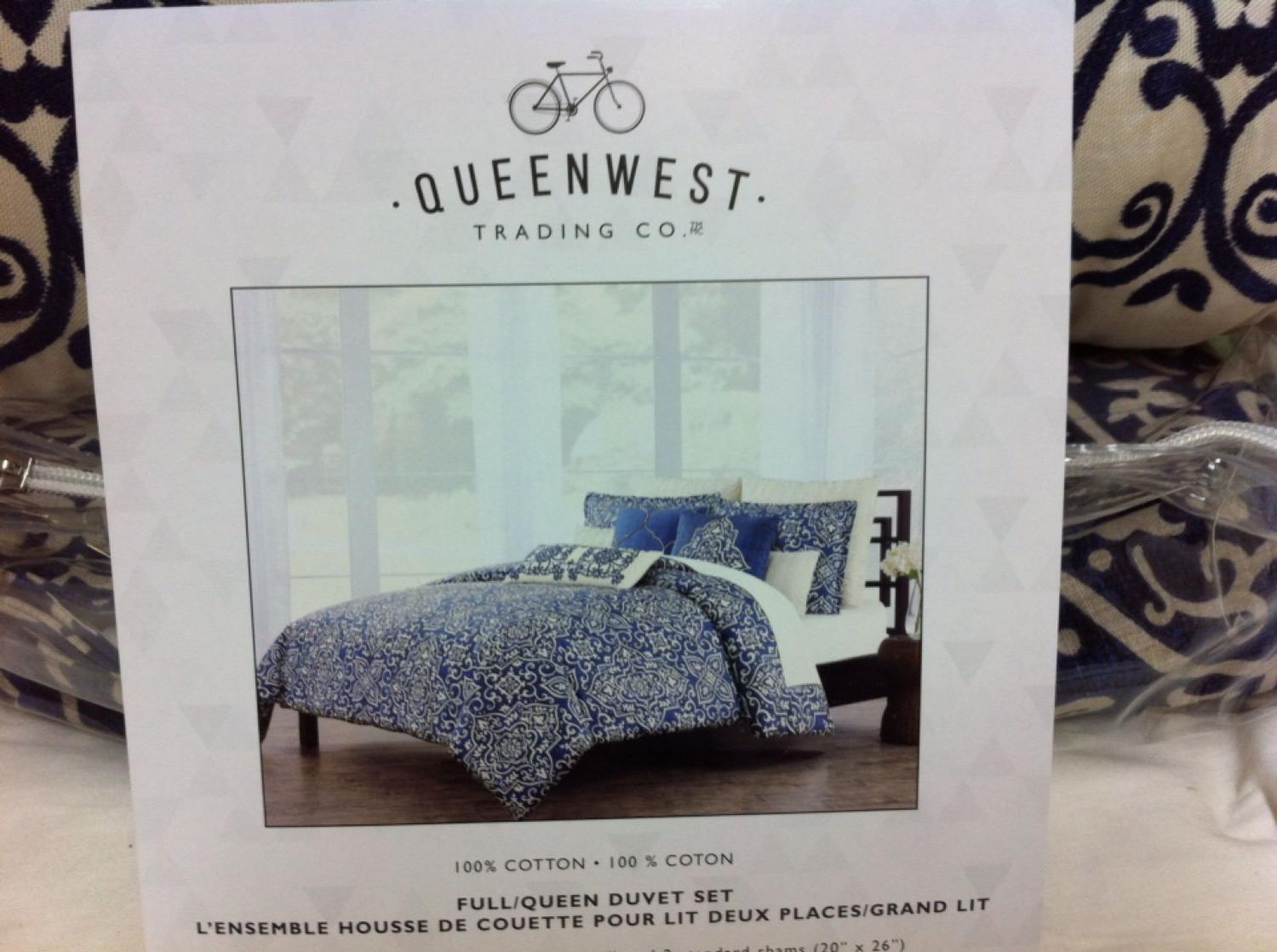 find more now 30 new in pkg queen duvet set fr queen west trading co duvet cover 90 x 96. Black Bedroom Furniture Sets. Home Design Ideas