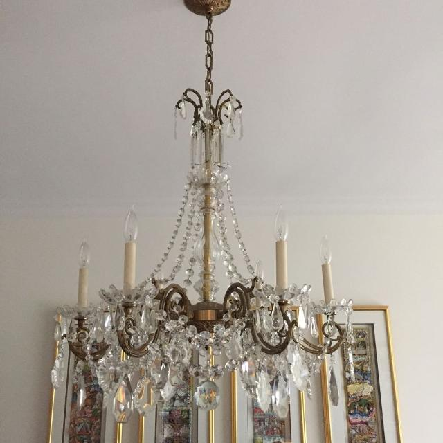 Best antique brass and baccarat crystal chandelier for sale in antique brass and baccarat crystal chandelier aloadofball Image collections