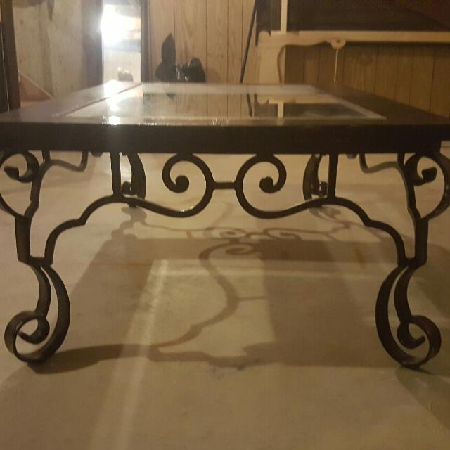 Gl Top Coffee Table With Wrought Iron Legs