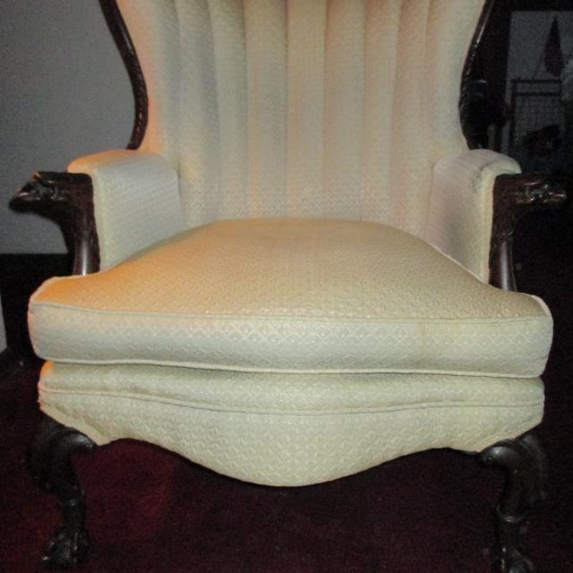 Antique Vintage Eagle Head Ball Claw Foot Wing Back Arm Chair