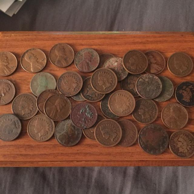 Around 50 coins mix of Indians and wheat pennies plus one key day 1878  Indian