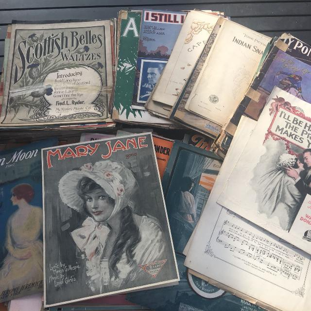 100's of pieces of Early 1900's Antique Vintage Sheet Music (6inches tall)