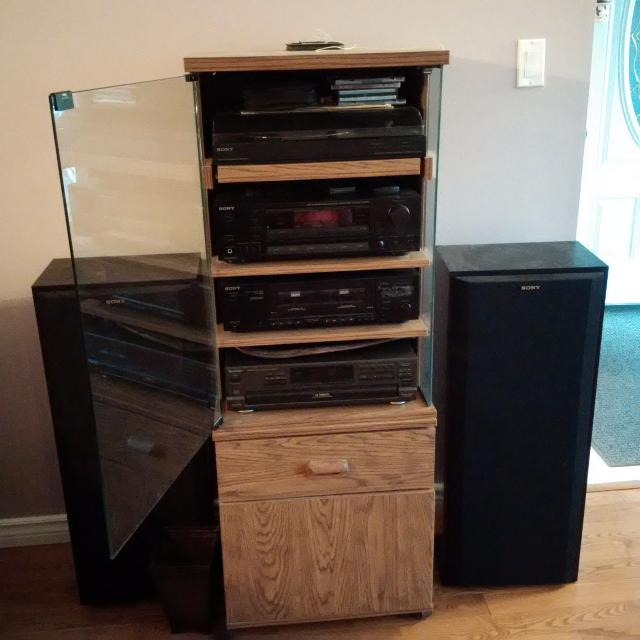 5 Piece Sony Technics Audio System And Storage Cabinet See Text For Details