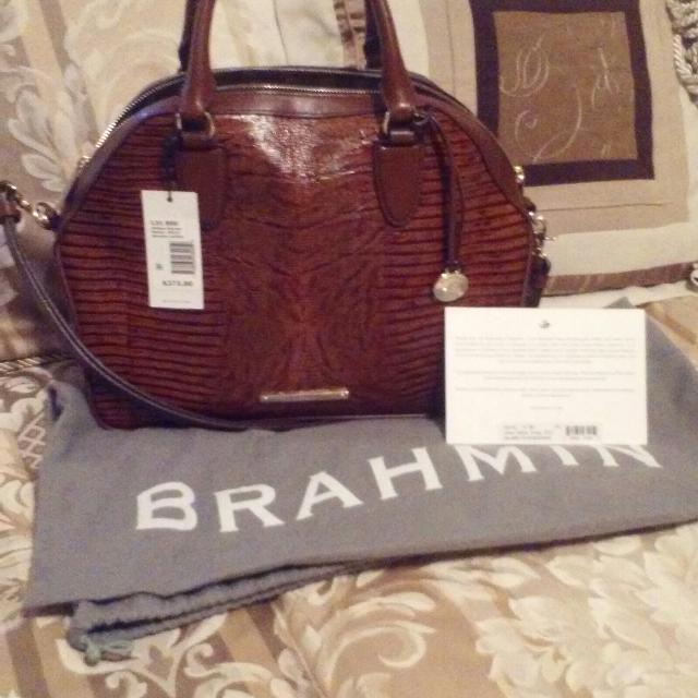 Nwt Brahmin Hudson Satchel Brulee With Registration Card And Dust Bag