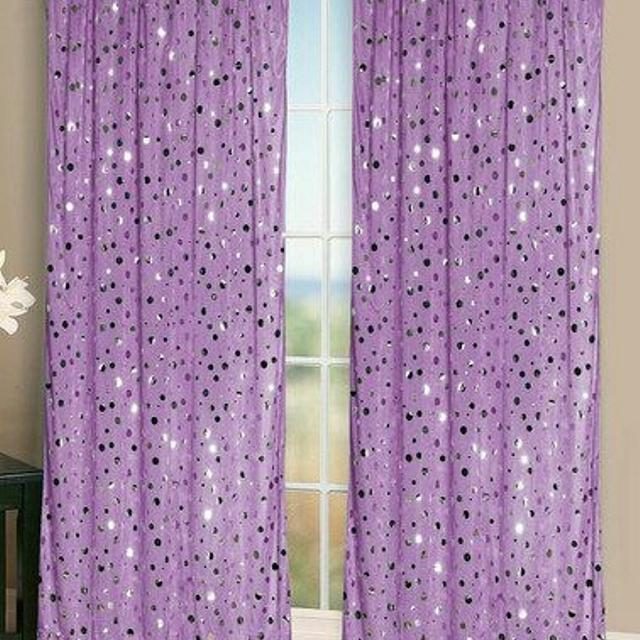 2 Sheer Beautiful Pink Sparkly Curtains For Girls Room Sequin Embellished 84long