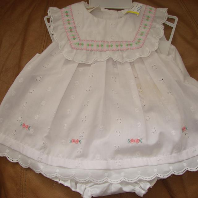 8e9eb1351 NWT baby girls white cotton summer outfit.