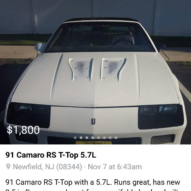 best 91 camaro rs t top 5 7l for sale in vineland new jersey for 2020 91 camaro rs t top 5 7l