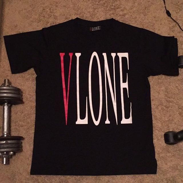 Best vlone red lettering tee as seen on aap mob for sale for Shirt lettering near me