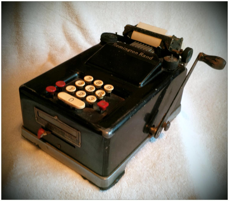Vintage remington electronic adding machine model.