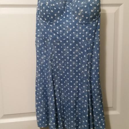 Material Girl dress sz L blue polka..., used for sale  Canada
