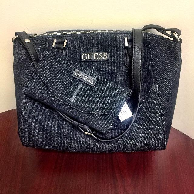 ac49a801b4fd Find More Authentic Guess Black Denim Purse Wallet Set For At