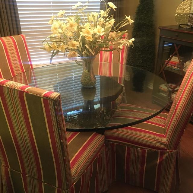 Best Ballard Designs Glass Top Dining Table With 4 Custom Rolling Chairs For Sale In Frisco Texas 2021