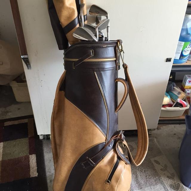 Vintage Lynx Golf Clubs And Bag