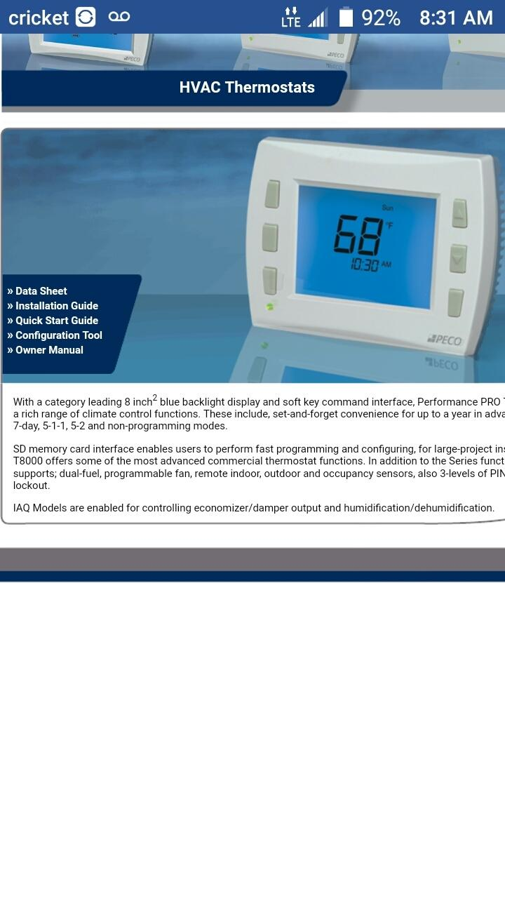 PECO T8000 PERFORMANCE PRO THERMOSTAT