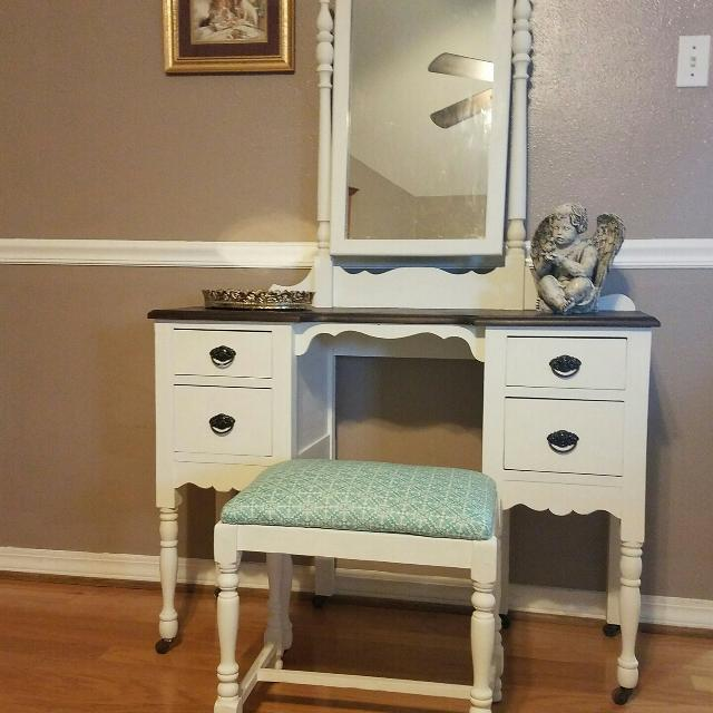 Antique Vanity Dresser with Mirror & Bench - Find More Antique Vanity Dresser With Mirror & Bench For Sale At