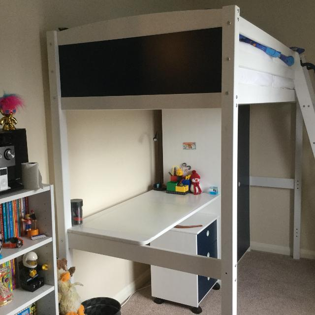 Flexa By Thuka Single High Sleeper Bed With Desk Drawers And Wardrobe PRICE