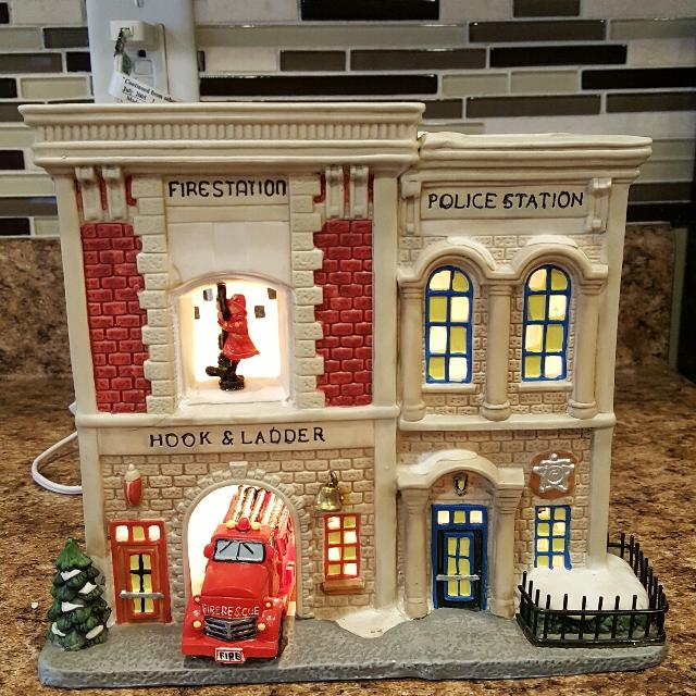 ceramic christmas lighted village house fire house