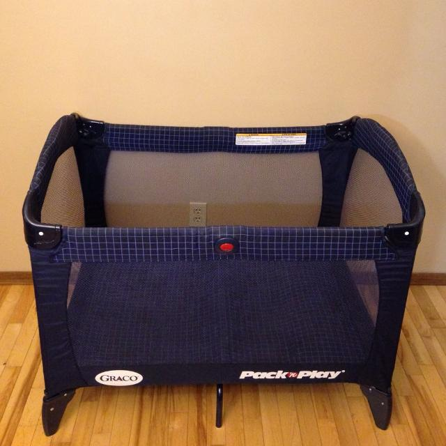 26043378452 Find more Graco Navy Blue Plaid Pack'n Play Playpen Play Yard!! for ...