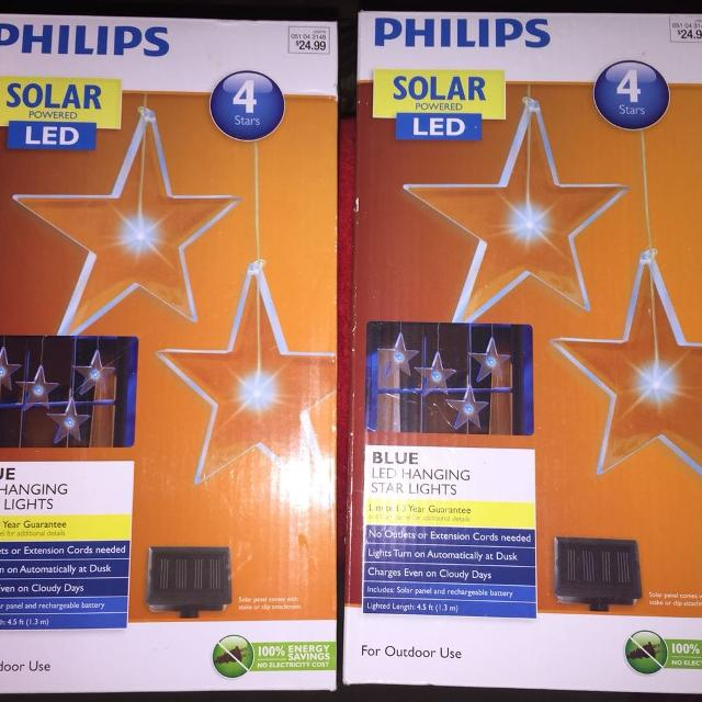 christmas lights philips solar blue led hanging star lights set of 2 boxes new