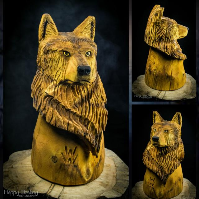 Find more chainsaw carved wolf bust for sale at up to 90% off