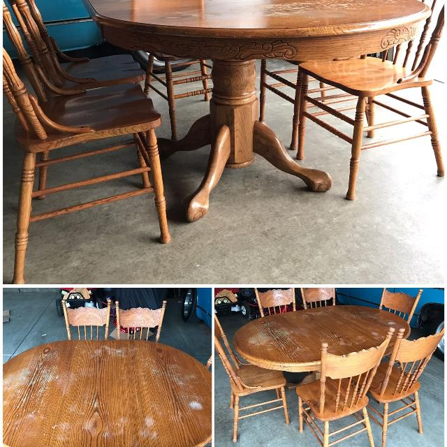 Find More Oval Oak Clawfoot Dining Table W Chairs For Sale At Up - Oval oak dining table and 6 chairs