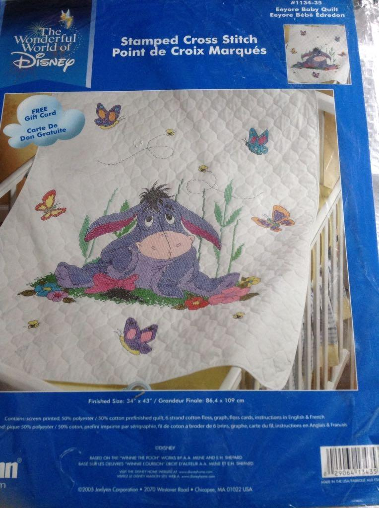 Edredon English.Euyore Counted Cross Stitch Baby Blanket