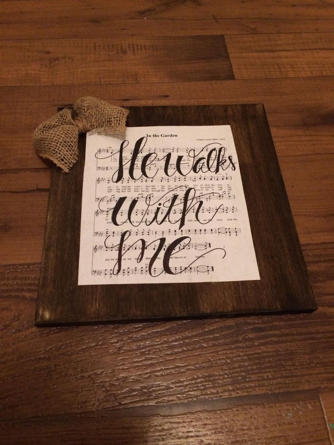 Find more He Walks With Me Calligraphy Wooden Hymn Piece With Burlap ...