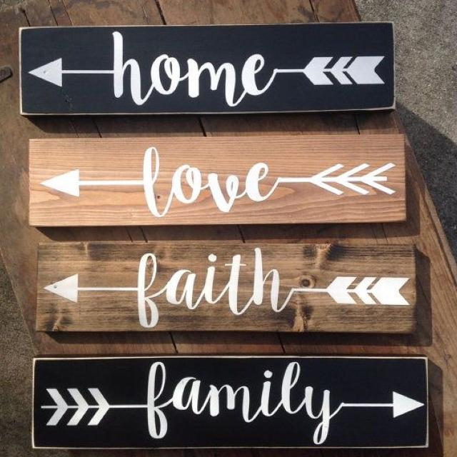 home love faith family wood signs with vinyl lettering
