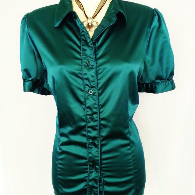 e98ee97b050d5 Best Dark Emerald Green Satin Top Size 1x for sale in Richmond ...