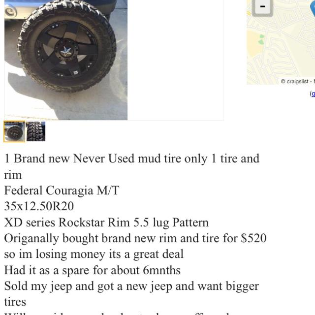 1 brand new used mud tire and 1 rock star rim 300 OBO