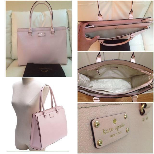 ff21f513730 KATE SPADE Kory Wellesley Large Leather Work Tote Flamingo Pink